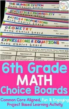 Math Enrichment Choice Board Bundle – All Sixth Grade Standards– These five enrichment menu projects are an amazing differentiation tool that not only empowers students through choice but also meets their individual needs.  Includes math choice boards for the number system, statistics & probability, ratios & proportions, geometry and expressions & equations.  Engaging and fun activities that are low prep for 6th graders.  #teachingmath #math #mathchoiceboards #6thgrade