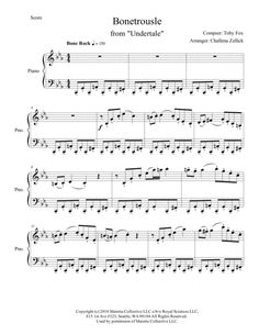 Bonetrousle from Undertale. Please support music for special needs and underprivileged children Undertale Music, Undertale Au, Violin Sheet Music, Piano Music, Piano Songs, Toby Fox, Game Themes, Music Score, Easy Piano