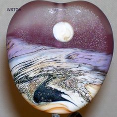 WSTGA~WINTER PATH~SNOW MOON ETCHED handmade lampwork glass bead focal