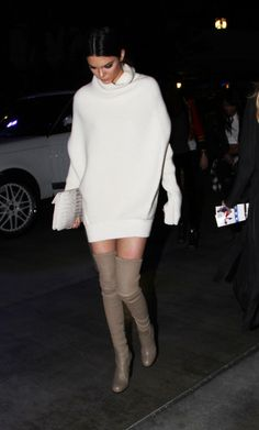 Turtleneck sweater dress and thigh-high boots. This is the perfect outfit for a night out.