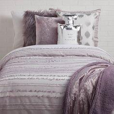 Dorm ideas, dorm room themes, dorm bedding sets, comforter sets, college do Dorm Bedding Sets, Comforter Sets, Ikea Bedroom, Gray Bedroom, Bedroom Decor, Style At Home, Doorm Room Ideas, Dorm Ideas, Purple Dorm Rooms