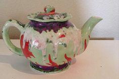 Unique, designer signed, hand painted. multicolor, rainbow, jazzy, food safe, decorative home decor collectible art ceramic teapot