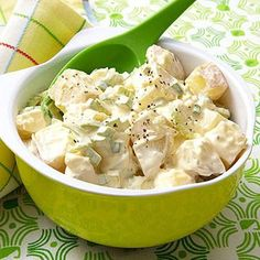 Raisins, walnuts, and apple add crunch to this potato salad dish, while the fat-free dressing adds the perfect tangy balance to the sweet potatoes.