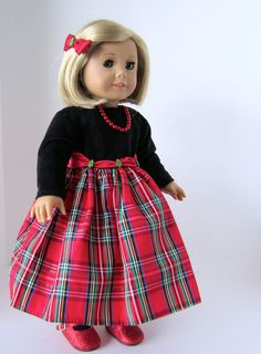 American Girl Doll: Holiday Plaid by SewSpecialByBarb on Etsy