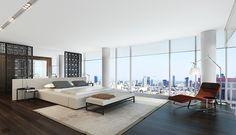 spacious modern bedroom w/city views