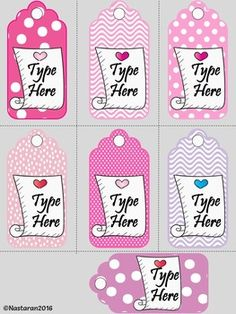 """Editable Valentine's Day Gift Tags (Medium Size) by Nastaran 