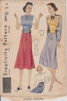 """Jupe Slim à coudre modèle simplicité 2694 jeune femme : des années 1930 très rares femmes équipée de Blouse et pourpoint buste 30"""" hanche 33"""" taille 12"""