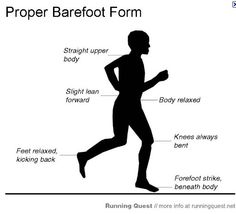 A guide to barefoot running. Includes helpful advice on how to prepare, learning the stride, proper form, and increasing your running distance. Barefoot Running, Going Barefoot, Proper Running Form, Running Club, Trail Running, Training Plan, Marathon Training, Born To Run, Running Workouts