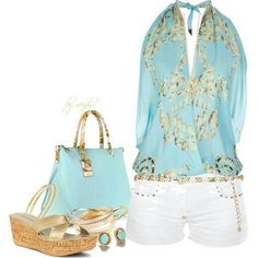 Blue White Gold Outfit
