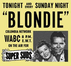 !944 Ad for the Blondie Radio Show sponsored by Super Suds