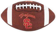 NCAA USC Trojans Game Time Full Size Football by Licensed Products. $16.15. Full size pvc pebble football with collegiate striping.. Comes with a display stand kicking tee.. USC Trojans team logo displayed on front and school wordmark on back.. Features collegiate striping.. The Rawlings tradition and quality is demonstrated in this full-size pvc pebble football.  This durable pebble and classic on-field football features collegiate striping and is ready to be thrown ...