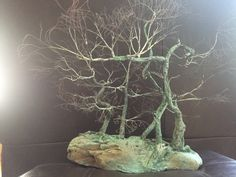 TAE Tree: Copper wire trees on a natural rock. A portrayal of many different bonsai styles in one forest. Bonsai Styles, Peace Art, Wire Trees, Miniature Trees, Garden Shop, One Tree, Wabi Sabi, Recycled Materials, Copper Wire
