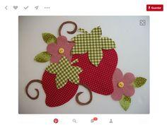 Risultati immagini per flores y frutas patchwork Applique Towels, Wool Applique, Applique Patterns, Applique Quilts, Applique Designs, Embroidery Applique, Quilt Patterns, Machine Embroidery, Embroidery Designs
