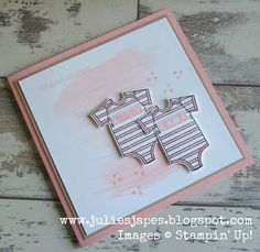 Julie Kettlewell - Stampin Up UK Independent Demonstrator - Order products Twin Baby Girls card Twin Baby Girls, Twin Babies, Twins, Baby Girl Cards, New Baby Cards, Tarjetas Pop Up, Karten Diy, Congratulations Baby, Baby Shower Cards