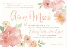 Pink, floral watercolor wedding invitation from Julie Song Ink, San Francisco.
