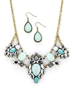 Take a look at this Gold & Mint Bib Necklace & Drop Earrings by MOCHA on #zulily today! $20 !!