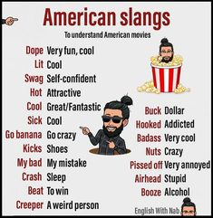 👉SLANG : a type of language consisting of words and phrases that are regarded as very informal, are more common in speech than writing, and… Slang English, English Phrases, Learn English Words, English Sentences, English Learning Spoken, Teaching English Grammar, English Language Learning, German Language, Italian Language