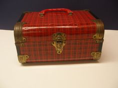 Sweet 1950s Doll Trunk Red Plaid Metal