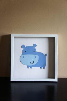 SALE Hippo Wall Art-Nursery Decor. $10.00, via Etsy.