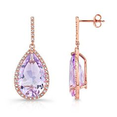 Victoria Kay 12 3/4ct #Pink #Amethyst and 3/8ct White #Diamond #Earrings in Rose #Gold Plated Sterling #Silver $460  http://www.amazon.com/dp/B007EDMAEU/ref=cm_sw_r_pi_dp_NkY8wb17Z83RZ