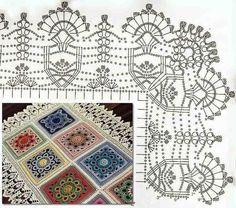 crochet mandala pattern Nice Crochet Idea with Pattern Easter Crochet Patterns, Crochet Edging Patterns, Crochet Mandala Pattern, Crochet Lace Edging, Crochet Motifs, Filet Crochet Charts, Crochet Borders, Doily Patterns, Loom Patterns