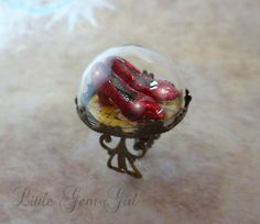 Wizard of Oz Ring - Ruby Red Slippers Ring - Wizard of Oz Jewelry Sparkly Ruby Slippers on the Yellow Brick Road Glass Dome Brass Ring
