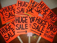 Now, all of the preparations for the yard sale were more than a. Yard Sale Signs, Garage Sale Signs, For Sale Sign, Yard Sales, House Flags, Summer Fun, Household, Summertime, Dan