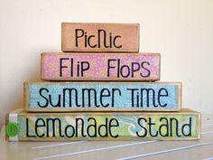 Summer time wooden stacker- Picnic, lemonade stand, summer time, flip flops- summer decor wooden blocks shabby chic