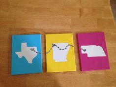Roommate décor! Texas for me, Nebraska for her, and Arkansas for the University of Arkansas :)