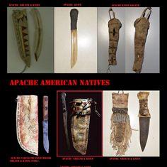 Coltelli e guaine Apache. Il coltello è sia arma che attrezzo. Venivano utilizzati per fabbricarli materia vari, ossidiana od altre pietre, osso, metallo ottenuto per commercio.