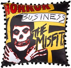 """Now you can redecorate your lounge with the always iconic Misfits pillow! This satiny pillow with features original album artwork in full color. Fit for any fiend's home!  Made by Sourpuss 13"""" by 13"""" Officially licensed"""