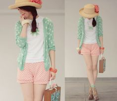Pastel polka dots (by Shan  Shan) http://lookbook.nu/look/1967404-Shorts-Comme-Des-Garons-Top-Pastel-Polka-Dots