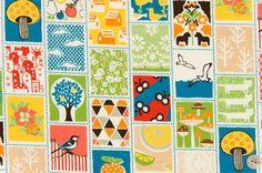 Original y divertida tela de cuadros de estilo patchwork con motivos de setas, animales, árboles..