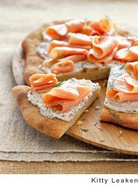 Smoked-Salmon Pizza with Red Onion and Dill.