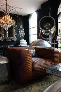 Timothy Oulton Flagship Store in Amsterdam. Love that chair! Gentlemens Club Decor, Restauration Hardware, Masculine Interior, Home And Deco, Interior Exterior, Beautiful Interiors, Interior Design Inspiration, Interiores Design, My Dream Home