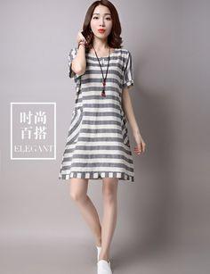 CW38529 Summer large yard short sleeve stripe loose dress for women