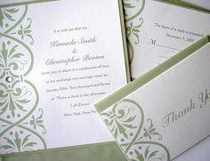 Wedding Invitation  Linen Sage Green Rhinestone by alamodebride, $2.75