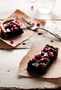 chocolate pomegranate tart - looks heavenly!