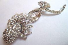 "Ledo Rhinestone Brooch Pin Designer Signed 1940s Long Flower Silver Metal 3 1/4"" Vintage"
