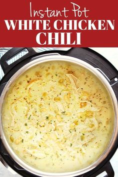 Creamy Instant Pot White Chicken Chili - creamy and hearty soup with chicken white beans and chile peppers You can make it with dried or canned beans InstantPot pressurecooking soup chicken Crock Pot Recipes, Chili Recipes, Cooking Recipes, Instapot Soup Recipes, Muffin Recipes, Pizza Recipes, Instapot Recipes Chicken, Quick Soup Recipes, Cooking Pasta
