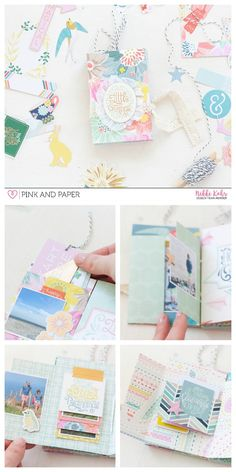 Folded mini album with secret pocket made with Pink Paislee - Paige Evans Turn The Page collection.
