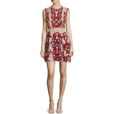 Parker Rosewell Embroidered Dress ($590) ❤ liked on Polyvore featuring dresses, cordovan, short a line skirt, embroidery dress, high waist dress, high waisted mini skirt and ruffle mini skirt
