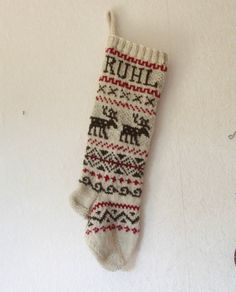 Holiday Stocking custom knit personalized reindeer by Gigi82Knits. Repinned by www.mygrowingtraditions.com