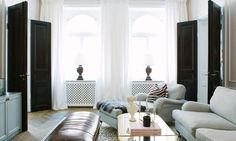 Inside a Fashion Executive's Elegant Swedish Home via @MyDomaine Painted Interior Doors, Black Interior Doors, Black Doors, Classic Home Decor, Classic House, Chic Living Room, Living Spaces, Living Rooms, Living Room Inspiration