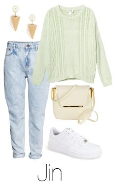 """""""Jin Inspired: Pastel"""" by btsoutfits ❤ liked on Polyvore featuring NIKE, H&M, Monki and Jeweliq"""