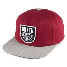 Brixton Hats Alliance Snapback Cap - Burgundy-Grey from Village Hats.