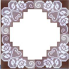 The Roses in Filet Crochet Are Filet Crochet Charts, Crochet Doily Patterns, Crochet Borders, Tatting Patterns, Crochet Designs, Crochet Stitches, Crochet Dollies, Crochet Lace, Fillet Crochet