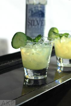 West Side cocktail with High West Silver Whiskey, simple syrup, Lime juice, Cucumber and mint.