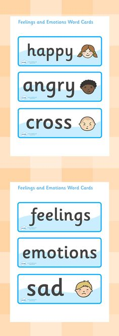 Twinkl Resources >> Emotions Word Cards  >> Thousands of printable primary teaching resources for EYFS, KS1, KS2 and beyond! word cards, flashcards, emotions, feelings, all about me, ourselves, emotions display, expression, happy, sad, angry, scared,