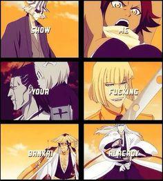 and Ichigo's new bankai and Hisagi's and all Zero's Skuad bankai ......and ISHIIN'S